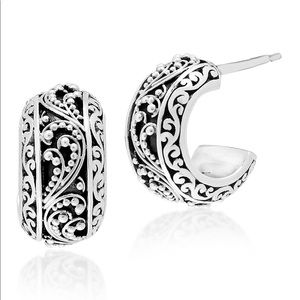 NWOT Lois Hill SterlingSilver Scroll Hoop Earrings